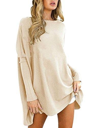 Yidarton Pull Femme Large Top à Manches Longues Tunique Casual Mini Robe Beige