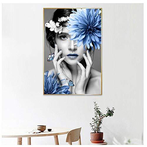 Jwqing Nordic Minimalist-Schönheit Blaue Blume Leinwand Malerei Wohnkultur Kunstdruck Frauen Leinwand Wandbild Wohnzimmer Dekor 60X90 cm Ungerahmt