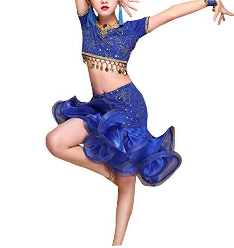zhxinashu Latein Tanzen Pailletten Trikot Kleid - Mädchen Bühnenkostüm Kinder Kostüm Tailliertes Schwingendes Kleidung (Blau,XL)