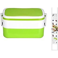 Lunchbox mit Besteck 2 Ebenen Brotdose Frühstücksdose Luftdicht 2-tlg-Set (Frischhaltedose, Trennwand, Lunch Dose, Essensbehälter, 1,5 Liter, Spülmaschinengeeignet, Grün)