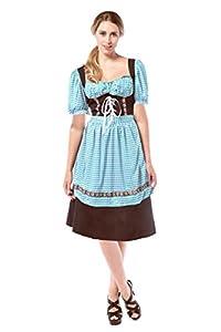 Tann Casas 7262262Tirolesa Hannah Disfraz, Color marrón Oscuro/Azul, L