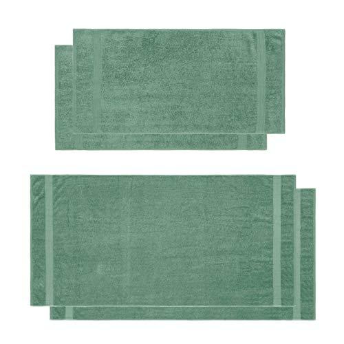 Lumaland Premium Set 2 Handtücher (50 x 100 cm) + 2 Badetücher (70 x 140 cm) Frottee 100% Baumwolle 500 g/m² mit Aufhänger seegrün