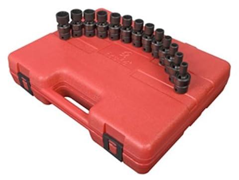 Sunex 3691 3/8-Inch Drive 12-Point Standard Length Metric Universal Impact Socket Set, 13 Piece by Sunex