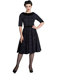 Hell Bunny 50er Jahre retro Tartan Pin Up Rockabilly Swing Dress Petticoat 3/4 Arm Kleid
