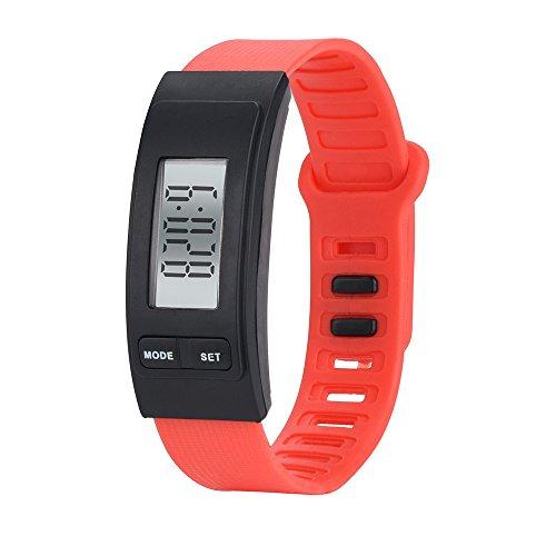 Podomètre Montre, Fulltime Exécuter étape Montre Bracelet podomètre Calorie Compteur numérique LCD Distance de Marche (Rouge)