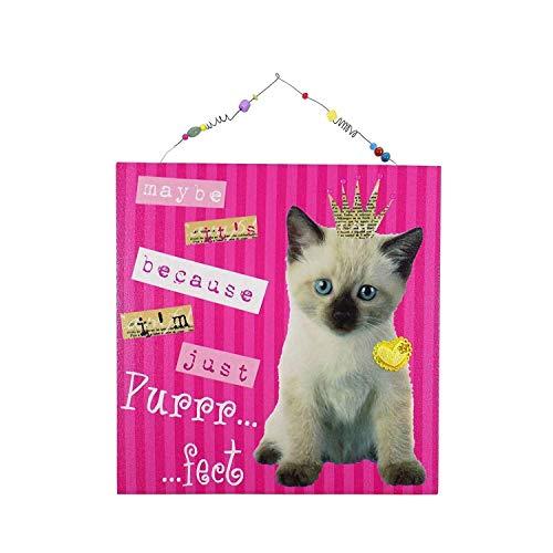 Katze Kätzchen Krone Herzen Perlen Abzeichen Rosa Leinen Holz Bild 30CM (Leine Abzeichen)