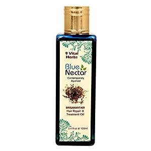 Blue Nectar Ayurvedic Hair Oil to Reduce Hair fall, Promote Hair growth, reduce Dandruff and prevent Hair graying, 100ml