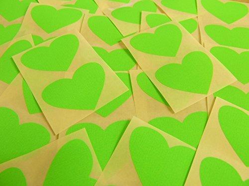 50x37mm Fluorescente Claro Verde Lima Con Forma De Corazón Etiquetas, 40 auta-Adhesivo Código De Color Adhesivos, adhesivo Corazones para Manualidades y Decoración