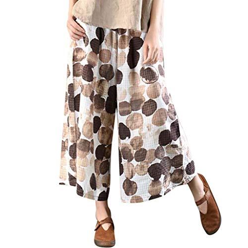 Mode Frauen Damen Weites Bein Hosen Casual Tupfen gedruckt mit Taschen Dot Print lose Wadenlangen Trouser Freizeithosen URIBAKY