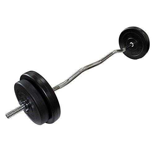 POWRX Langhantel Curlstange Set 20 kg mit Hantelscheiben Hantelstange und Sternverschlüssen (2 x 5 kg, 2 x 2,5 kg)