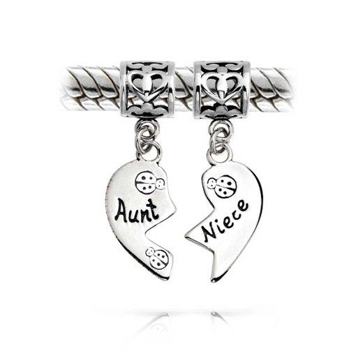 Tante Nichte Marienkäfer Puzzle Zwei Stück Geteilten Herzform Dangle Die Perle Charm Silber Passt Europäischen Armband
