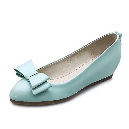 AllhqFashion Damen Ziehen Auf Niedriger Absatz Pu Leder Rein Rund Zehe Pumps Schuhe Blau