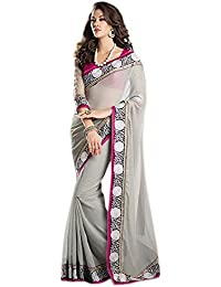 Bhavna Creation Women's Faux Georgette Saree With Blouse Piece (Grey_Border,Grey,Free Size)