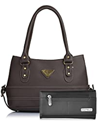 Fostelo Women's Combo Handbag & Clutch (Brown & Black) (FSB-1048-FC-07)