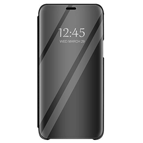 Funda Xiaomi Mi A2 Flip Espejo Case PC Hard Caso Protectora Stand Carcasa Bumper Flexible Ultra-Delgado Anti-Arañazos Resistente para Teléfono Mi 6X Cover (Xiaomi Mi A2 (Mi 6X), Negro)