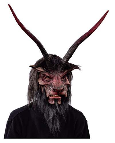 Horror-Shop Gehörnte Krampus Maske mit Kunstfell als Dämonen Verkleidung für Halloween & Weihnachten