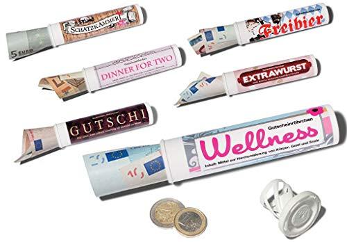 6er-Set: Geld- & Geschenkröhrchen im Medikamenten-Stil +++ MIX SET Nr. 4 zum Geld-verschenken +++ Sechs lustige Motive +++ SCHERZBOURIQUE (Set 4)