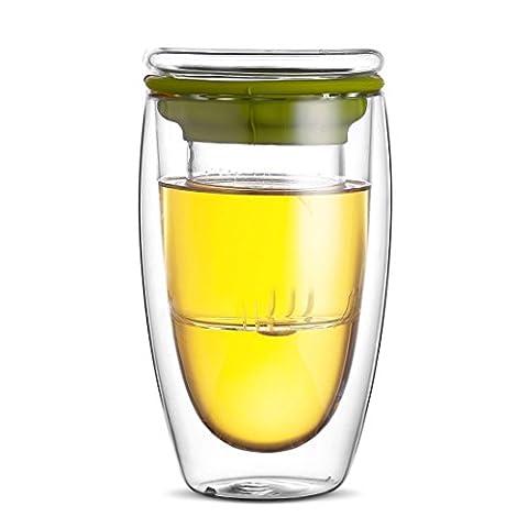 Qileyin 450ml Crystal Clear double couche de verre borosilicate Tasse à thé avec infuseur et couvercle, Gybl087 Green