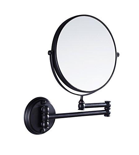 Eridanus Specchio Trucco da Bagno Parete Normale Specchio e Ingrandimento 3X Cosmetico da Trucco Adatto Girevole a 360° Estensibile Retroilluminato Bilaterale per Camera da Letto, Desktop, Nero
