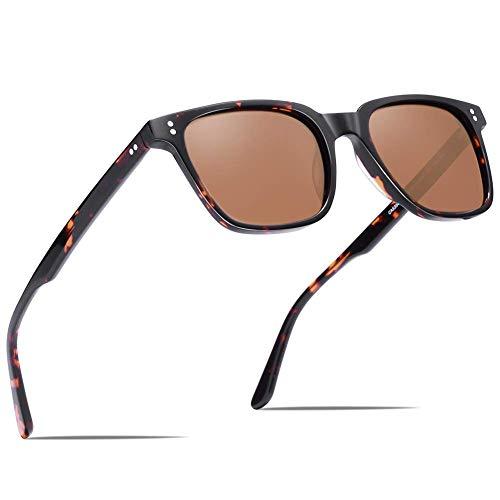 Carfia Polarisierte Damen Sonnenbrille UV400 Schutz Outdoor Brille für Autofahren Angeln Freizeit Acetat Rahmen (Eckiger Rahmen: Schildpatt; Linsen: Braun)
