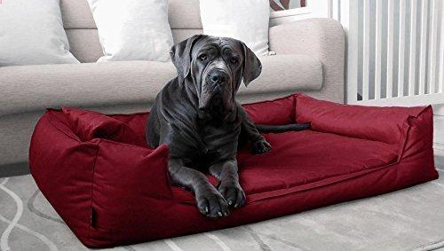 TIERLANDO® Orthopädisches Hundebett Goofy VISCO fest gewebtes Polyester Hundesofa M L XL XXL XXXL | 80-185 cm | 30 Farben (G5 | 130 x 100 cm, 04 | Dunkelrot) -