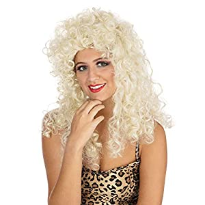 Long BLONDE CURLY PERM WIG FANCY DRESS (peluca)