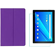 "Colorcase Tablet Flip Cover Case for Lenovo TAB4 Tab 4 10 TB-X304L TB-X304F TB-X304N 10.1"" - {Purple} with Tempered Glass (Combo Pack)"