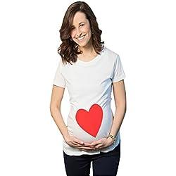 MissFox Mujer Camiseta Simple De Cuello Redondo Con Corazón Rojo Impresión Linda Divertida Para Premamá T-shirt Como Cuadro M