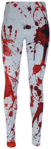 mygoodtime Leggings Damen Yoga Sport Hose lang Stretch Fitnesshose OneSize Blut Halloween Spritzer Horror Zombie Rot Weiß