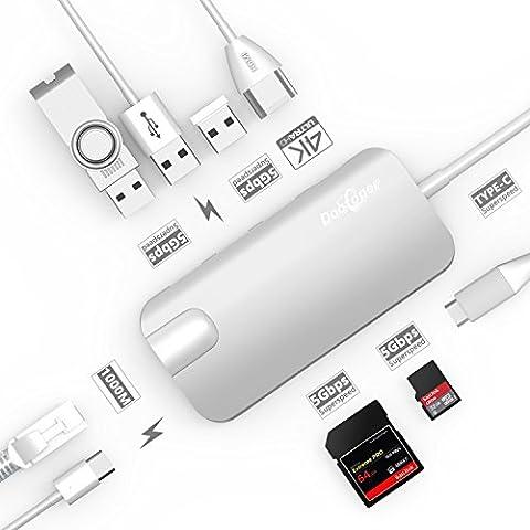 USB C Hub, dootoper Câble typique C avec 3ports USB 3.0, port HDMI 4K, port Ethernet (1000MBit/s), sD-card, Micro SDHC et USB C ladeanschluss, pour terminaux USB avec Macbook Air, Macbook Pro, Mac Mini, Google Chromebook 2016 argent