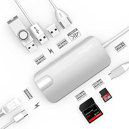 USB C Hub, Dootoper Cavo tipico C con 3 porte USB 3.0, porta HDMI 4K, porta Ethernet (1000Mbit / s), SD-Card, micro SDHC e USB C Ladeanschluss, per terminali USB con MacBook Air, MacBook Pro , Mac Mini, Google Chromebook 2016 (Silver)