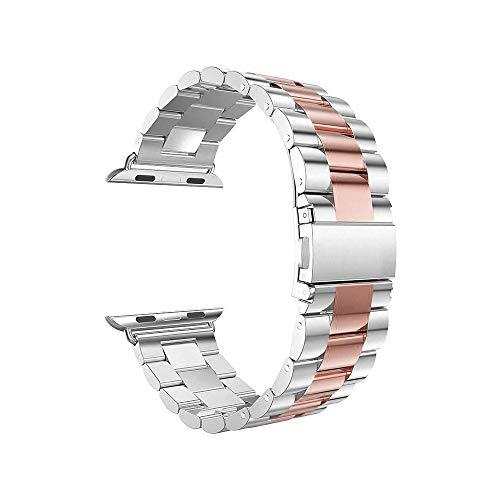 Vamoro Edelstahlarmband Smart Watch-Armband Edelstahl Metall Uhrenarmband Ersatz Uhren-Armband Uhrenarmband für Apple Watch Series 4 44mm(Rosa)