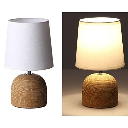 dcasa - Lámpara de mesa moderna marrón cerámica 16 x 16 x 27,50 cm