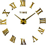 Large Diy Quartz 3d Wall Clock Acrylic Sticker Roman Number Wall Clock - Gold