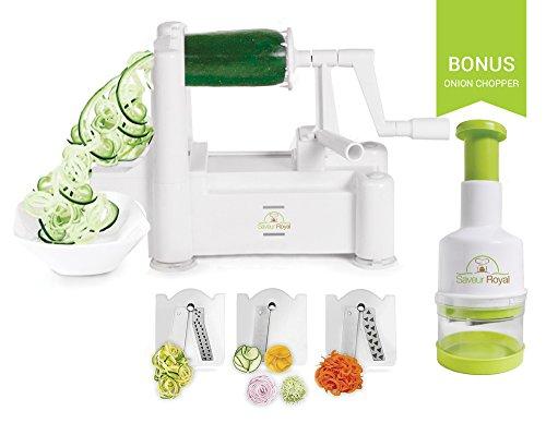 Cortador de verduras en espiral + EXTRA Picador de cebolla con tres cuchillas 2 en 1 Máquina Spiralizer para hacer espaguetis de verduras, para comidas Paleo y bajas en carbohidratos