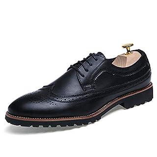 Jingkeke Herren Formelle Business-Halbschuhe Blockabsatz Schnürschuh einfarbig Flügelspitze Brogue Dress Shoes auffällig (Color : Schwarz, Größe : 44 EU)