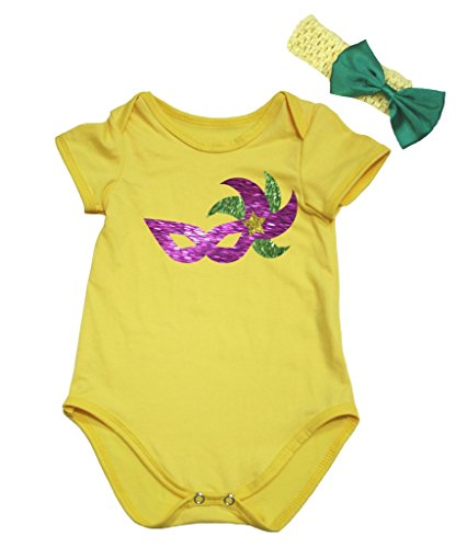 Petitebelle Mardi Gras Mask Yellow Bodysuit Romper Set Nb-18m (3-6 Months)