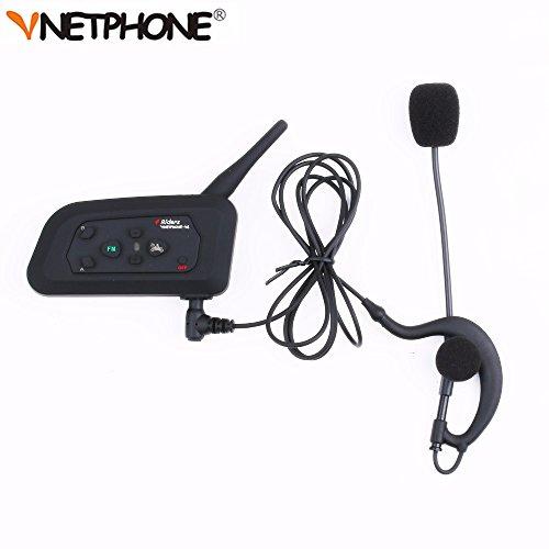 Vnetphone Bluetooth Intercom, Fußball Schiedsrichter V4C Ohrbügel Kopfhörer Headset 1200M Full Duplex Kopfhörer & FM - Motorrad Fußball Helme