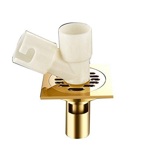 Drain-hardware (Tochange Anti Odor Square Bodenablauf, Bad Waschmaschine Dual-Use-Boden Drainer/Shower Drain Hardware Zubehör, Kupfer Material (Gestalten : Double Connector))