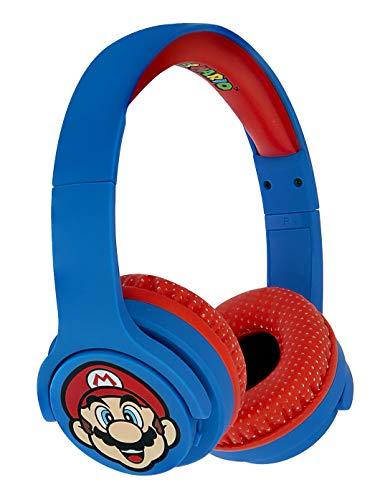 OTL Technologies Casque audio Bluetooth JUNIOR pour enfants Super Mario (arceau rembourré, volume limité à 85 dB, design coloré, mixte), Bleu/Rouge
