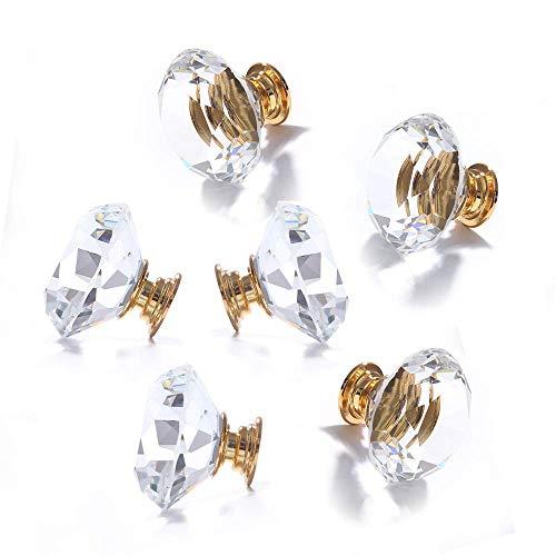 8er 40mm Diamond Kristall klar Glas Möbelknopf Schrank Buffeschrank Türknöpfe mit Gold-Metall-Basis Knöpfe Kleiderschrank goldfarbige Fassung Möbelknopf