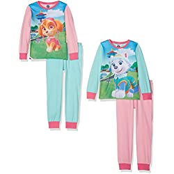 Girls Paw Patrol 2Pack Long Sleeve Pyjama Set, Multicoloured (Aqua/M.Pink/B.Pink), 5-6 Years