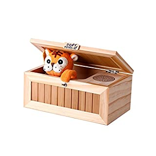 Cenblue Funny Tiger Useless Box, Don't Touch Musical Box Wooden Gag Toys