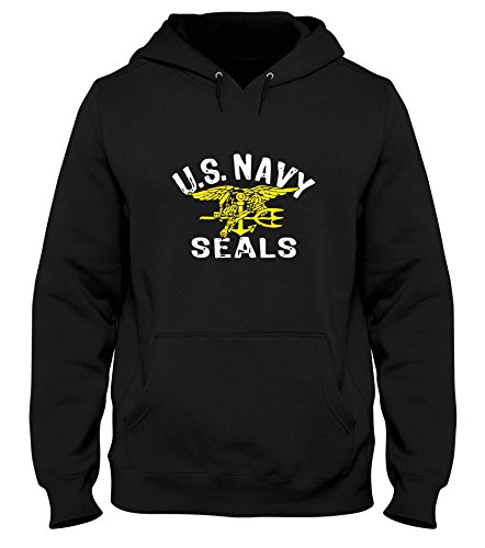 Schwarz Us Navy Seal (Kapuzen-Sweatshirt fur Mann Schwarz OLDENG00705 US Navy Seals)