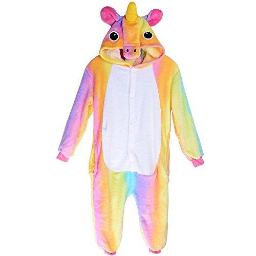 Imagen de pijama unicornio pijama animal invierno entero de franela unisex pijama mono animal disfraz navidad para niños niñas xxl longitud 125cm para 138 148cm , arco iris 2  alternativa