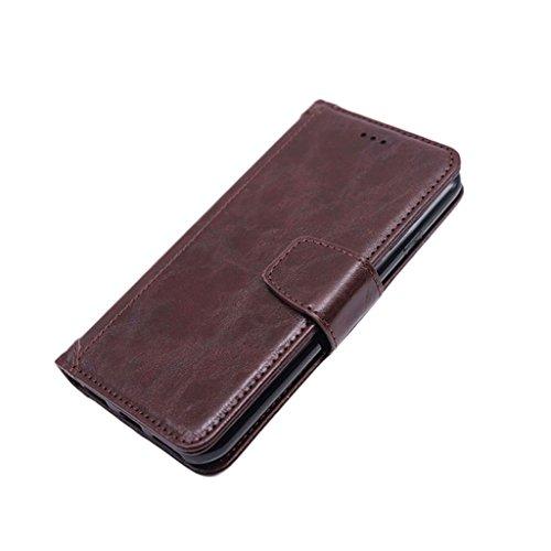 iPhone 5 Case, JNTworld Etui Housse rabat portefeuille Cuir support intégré Coque, Rouge Marron