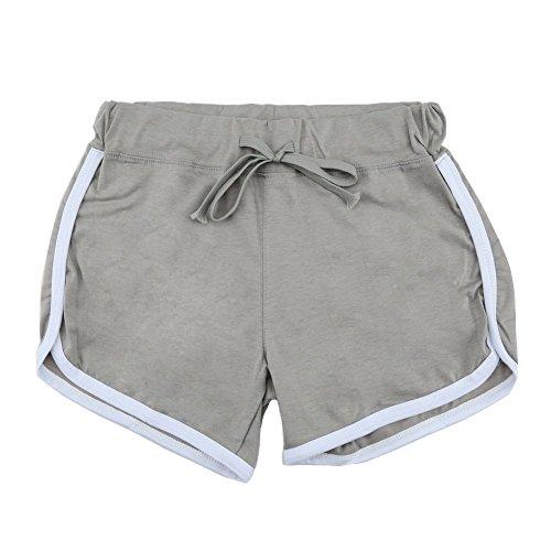 Minetom Donne Ragazze Estate Tempo Libero Sport Pantaloncini Casuale In Esecuzione Yoga Formazione Pantaloncini Grigio (Zebra Blu Trim)