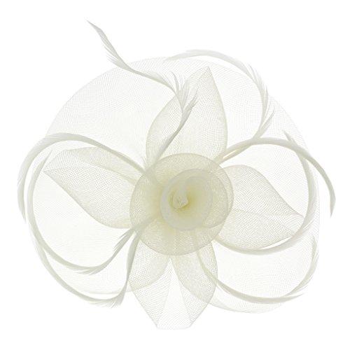 BXT Blumen Fascinator, Braut Patei Kopfschmuck, Garn Braut Haarschmuck, Hochzeit Haar Clip Hut Stirnband, Haarclip Hairpin Haarband für Party Kirche Hochzeit