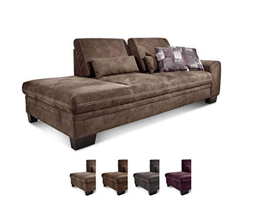 CAVADORE Recamiere Hussum mit Armlehne rechts / Sofa mit Federkern im Landhausstil / Inkl....
