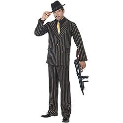 Smiffys Disfraz de gánster de raya diplomática dorada, con chaqueta, pantalones, pechera de camisa y corbata